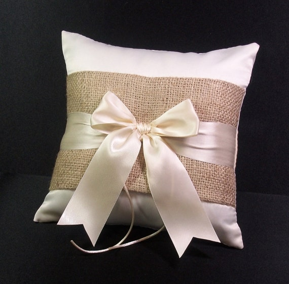 Burlap Accent  Ivory  or White Rustic Wedding Ring Bearer Pillow
