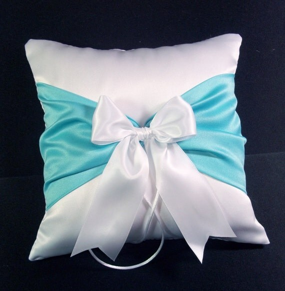 Pool Blue Throw Pillows : Pool Blue Accent White or Ivory Wedding Ring Bearer Pillow