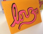 Love & Om Cursive Hand Printed Blank or Thank you or Birthday Greeting Card in Orange