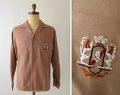 Vintage 1950s Mens Shirt : Gabardine Loop Collar Shirt