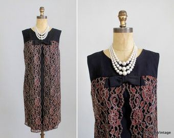 Vintage 1960s MOD Dress / 60s Lace Sheath Party Dress