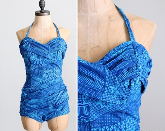 Vintage 1950s Swimsuit : 50s Catalina Tiki Bombshell Halter Bathing Suit