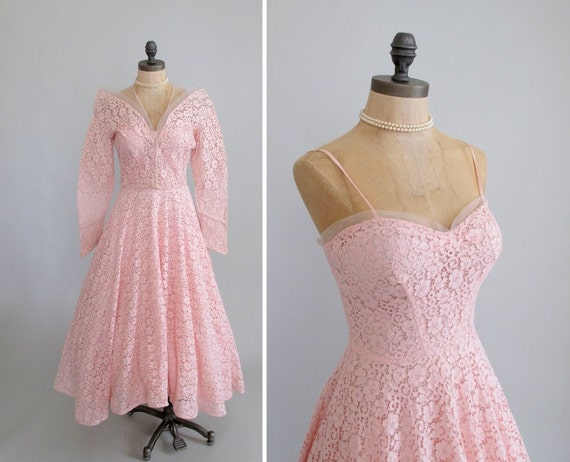Vintage 1950s Dress : 50s Pink Lace Prom Dress and Jacket