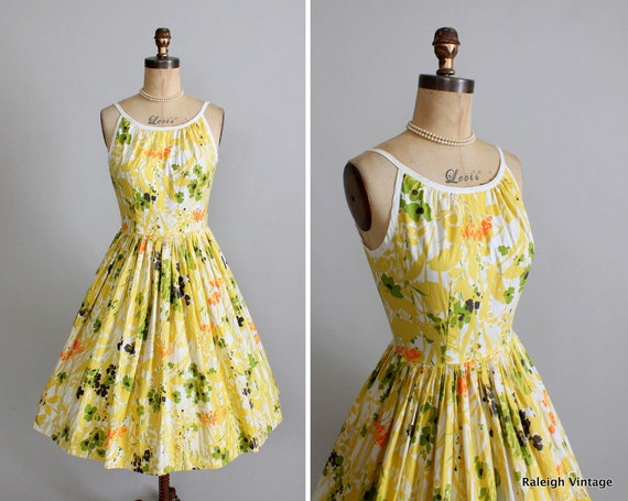 Vintage 1960s Dress : 50s 60s Floral Garden Party Sundress