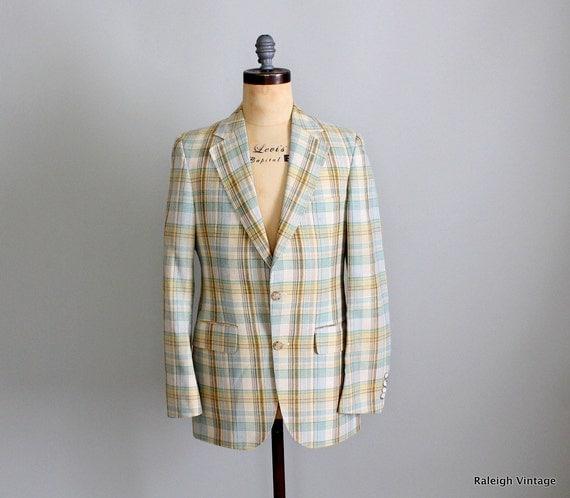 Vintage 1960s MENS Blazer : 60s Mad Men Plaid Sport Coat