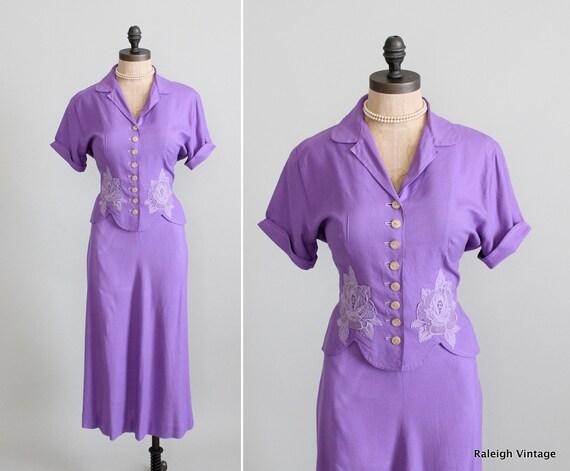 Vintage 1940s Suit: 40s Summer Skirt Top Set Dress