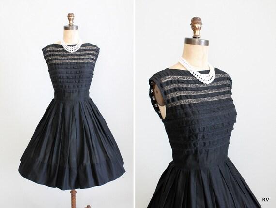 Vintage 1950s Dress : 50s 60s Black Ruffle Day Dress