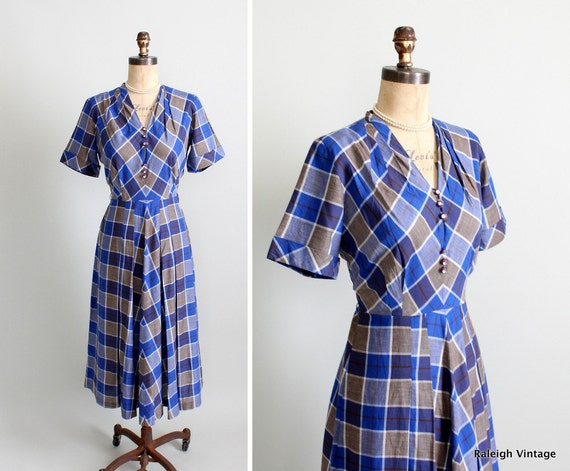 Vintage 1950s Dress : 40s 50s Plaid Cotton Dress