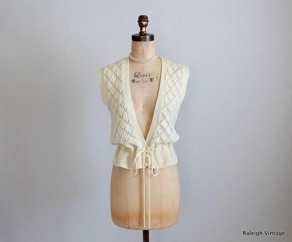 Vintage 1970s Vest : 70s Pointelle Sweater Vest