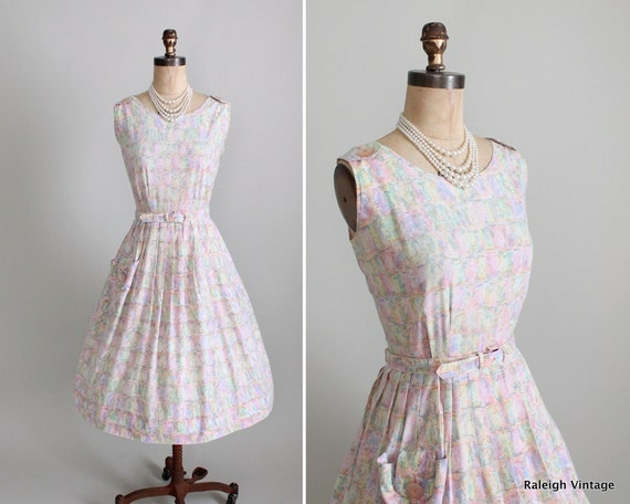 Vintage 1950s Dress : 50s Pastel Full Skirt Cotton Sundress Day Dress Summer Wedding
