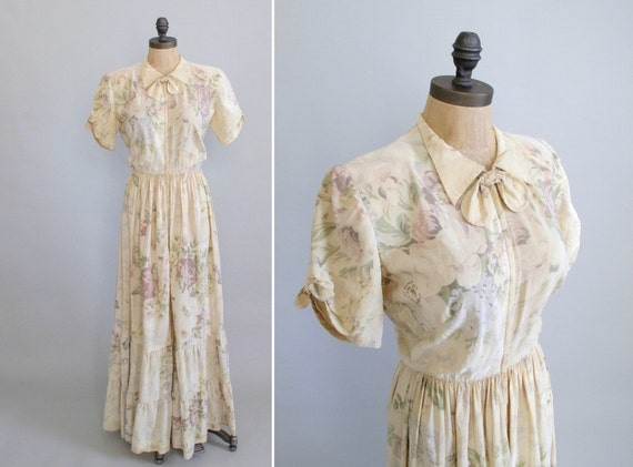 Vintage 1940s Dress : 1930s 40s Hostess Dressing Gown