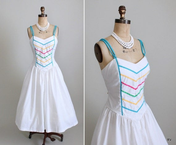 SALE Vintage Sundress : 70s 80s Full Skirt Sundress