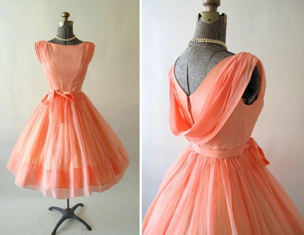 Vintage 1950s 60s Georgia Peach Cocktail Dress