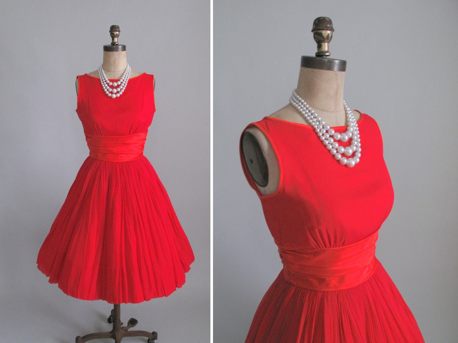 vintage 1960s prom dress 60s red chiffon cocktail dress