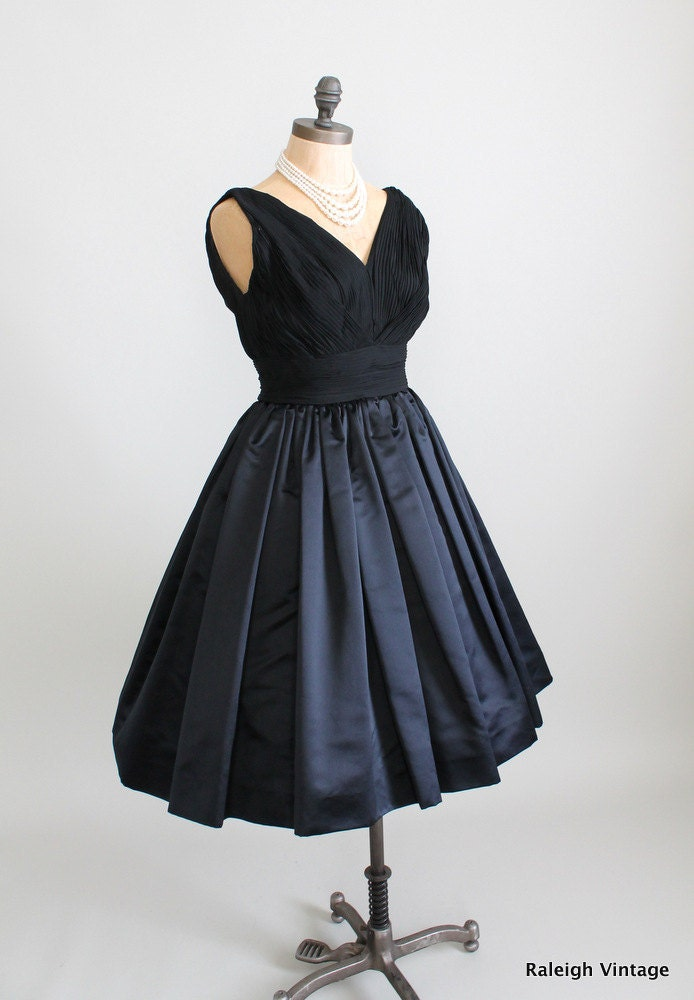 Reserved Vintage 1960 Dress 60s Black Cocktail Dress