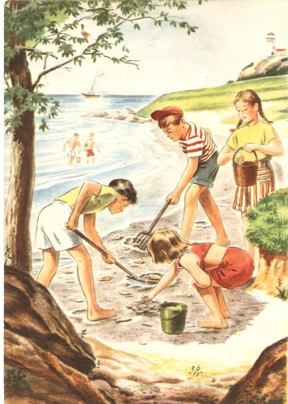 Kids at the Beach Vintage Illustration by PaperPrizes on Etsy
