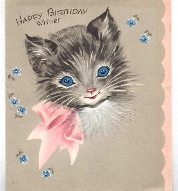 Kitty Cat Vintage Birthday Card