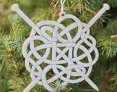 Ready to Ship - Celtic wood ornament with knitting needles gift box