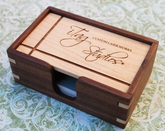 Custom Wood Business Card Box, Solid Hardwoods