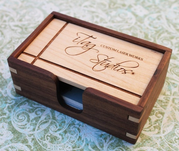 Custom Wood Business Card Box, Solid Hardwoods