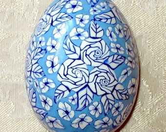 Duck Egg Covered with Polymer Clay - White Roses on Pale Blue Background