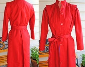 Red Vintage 80s Trench Coat Jacket
