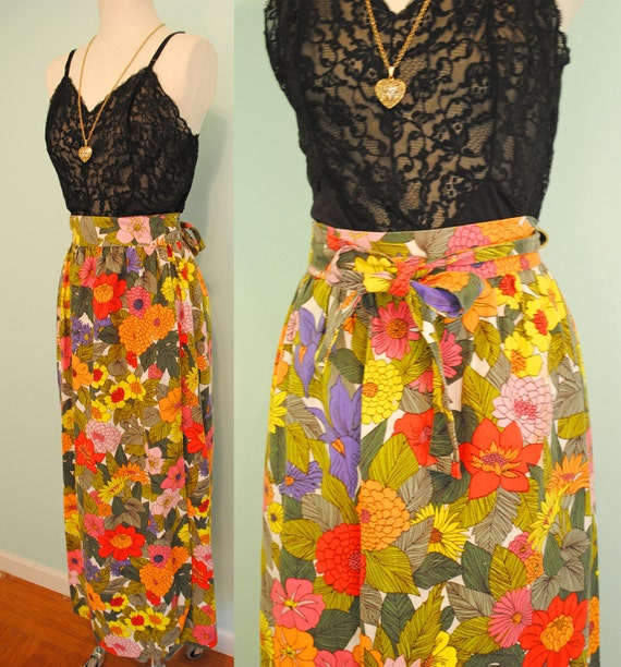 Colorful Vintage 1970s Long Wrap Girly Floral Folk Skirt