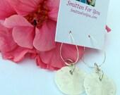 Real Sand Dollar Seashell Earrings on Loop Ear Wires