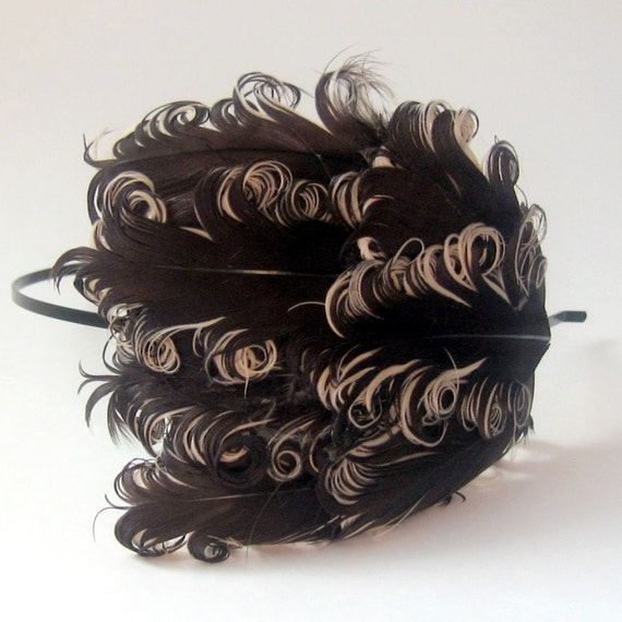 10 DOLLAR Flyaway Clearance ELOISE Feather Headband Curled Brown Beige Nagorie
