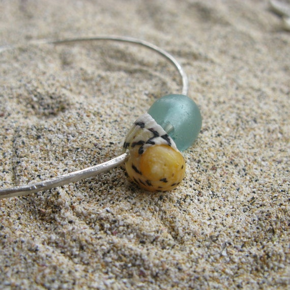 """Sterling Silver Soldered Wire Bangle with Recycled Indonesian """"Beach"""" Glass Bead and Seashell"""