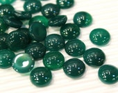 2 pcs Green Agate Gems Cabochon, 10mm smooth round