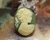 Victorian . Olive Green . Vintage Resin Cameo Brooch