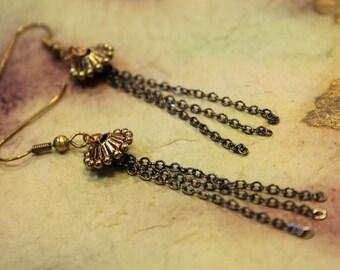 antique brass dangle fringe earrings