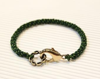 LS Bracelet - Weave Friendship - Dark Green/Grass Green - large brass clasp (listing for one bracelet)