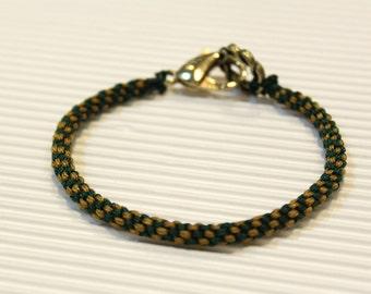 LS Bracelet - Weave Friendship - Golden Yellow/Dark Green - large brass clasp (listing for one bracelet)