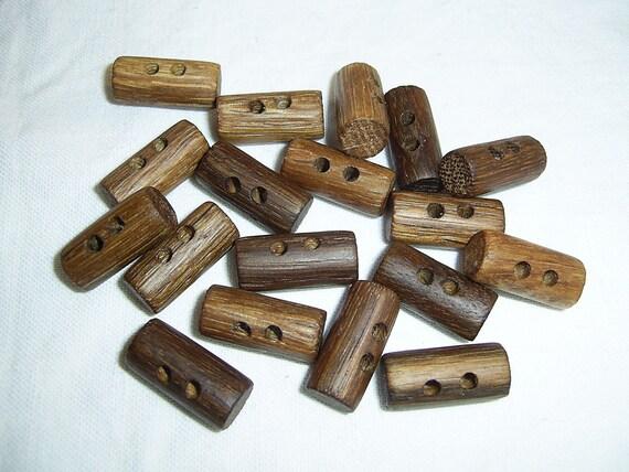 18 Handmade oak wood buttons , accessories