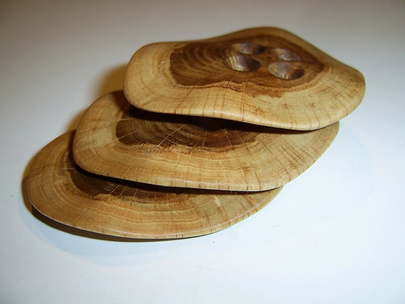 3 Handmade oak wood buttons, accessories