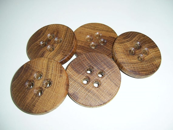 "5 Handmade oak wood buttons , accessories (1,97"" diameter x 0,28"" thick)"