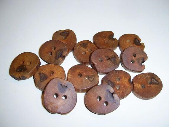 14 Handmade oak wood buttons , accessories