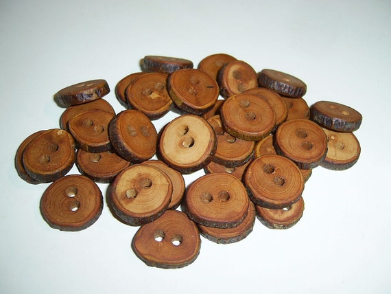 32 Handmade  wood Tree Branch Buttons with Bark, accessories