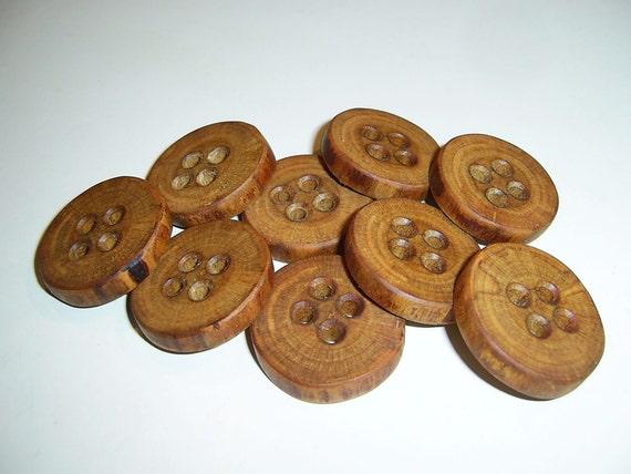 """9 Handmade  birch wood buttons, accessories (1,10"""" diameter x 0,20"""" thick)"""