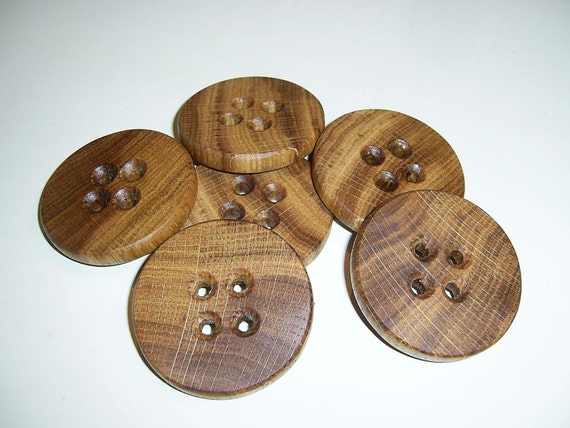 "6 Handmade  oak wood large  buttons, accessories ( 2,0"" diameter x 0,28"" thick)"