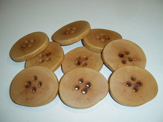 "9 Handmade  apple wood buttons, accessories (2,16"" diameter x 0,28"" thick)"