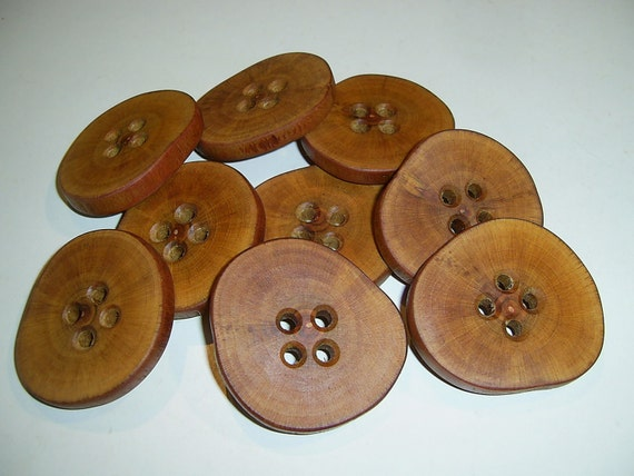 """9 Handmade plum  wood large buttons, accessories (2,13"""" diameter x 0,28"""" thick)"""
