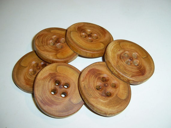 """6 Handmade plum  wood large buttons, accessories (2,0"""" diameter x 0,28"""" thick)"""