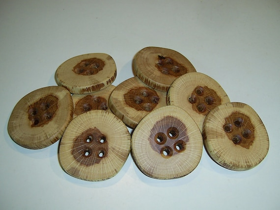 "9 Handmade oak wood buttons , accessories (2,09"" diameter x 0,28"" thick)"
