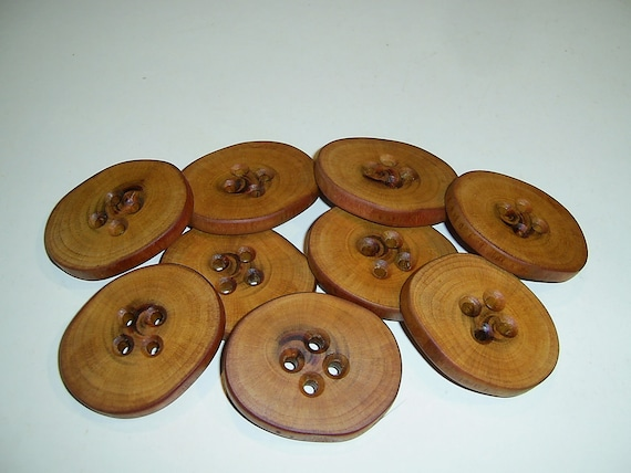 """9 Handmade plum  wood large buttons, accessories ( 2,24"""" diameter x 0,28"""" thick )"""