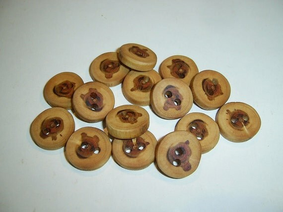 """15 Handmade plum  wood  buttons, accessories (0,71"""" diameter x 0,16"""" thick)"""