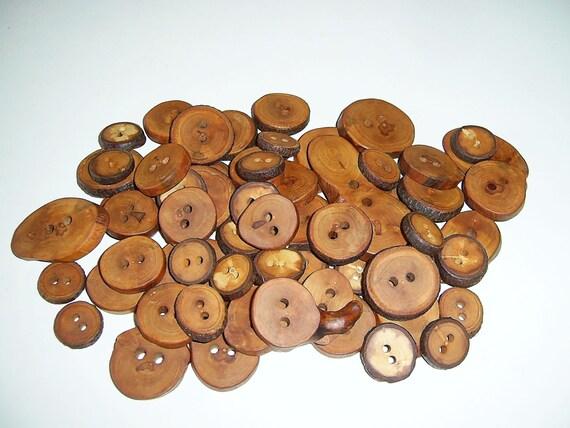60 Handmade  wood buttons, accessories