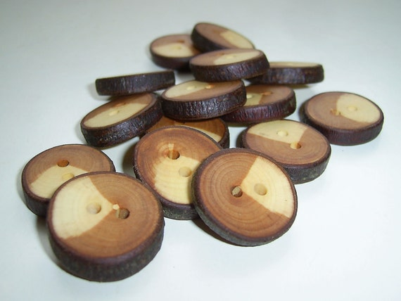 "15 Handmade  wild cherry wood Tree Branch Buttons with Bark, accessories (0,87"" diameter x 0,20"" thick)"